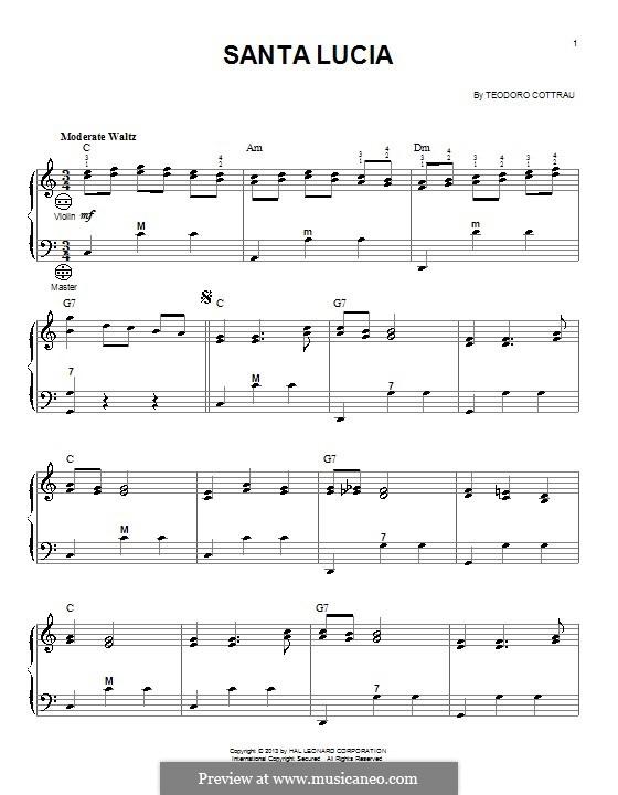 Santa Lucia: Для аккордеона by Teodoro Cottrau