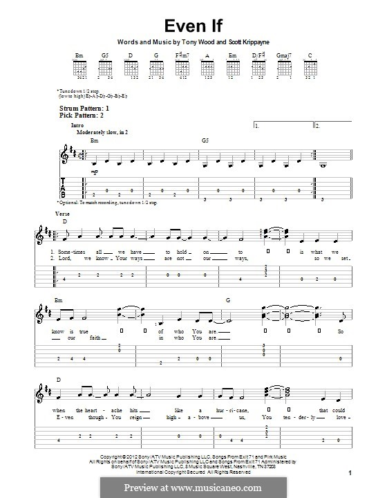 Even If (Kutless): Гитарная табулатура by Scott Krippayne, Tony Wood