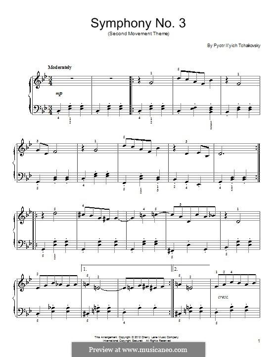 Симфония No.3 ре мажор 'Польская', TH 26 Op.29: Часть I (Excerpt). Version for piano by Петр Чайковский