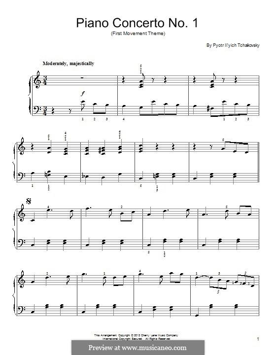 Концерт для фортепиано с оркестром No.1 си-бемоль минор, TH 55 Op.23: Часть I (Excerpt). Version for piano by Петр Чайковский