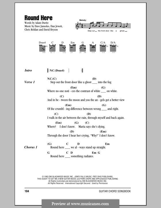 Round Here (Counting Crows): Текст, аккорды by Adam F. Duritz, Chris Roldan, Dan Jewett, Dave Janusko, David Bryson