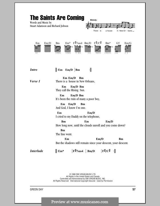 The Saints Are Coming: Текст и аккорды by Richard Jobson, Stuart Adamson