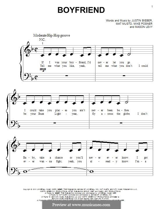 Boyfriend: Для фортепиано by Justin Bieber, Mason Levy, Mike Posner, Matthew Musto