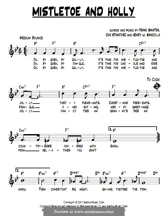 Mistletoe and Holly (Frank Sinatra): Текст, аккорды by Dok Stanford, Henry W. Sanicola