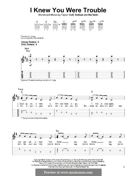 I Knew You Were Trouble (Taylor Swift): Гитарная табулатура by Shellback, Max Martin