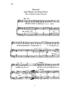 Que l'heure est donc brève: Для высокого голоса и фортепиано by Жюль Массне