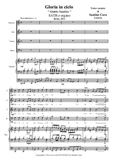 Glory in Heaven (Christmas Jubilation) for SATB and strings, or organ: For SATB and organ, CS213b by Santino Cara