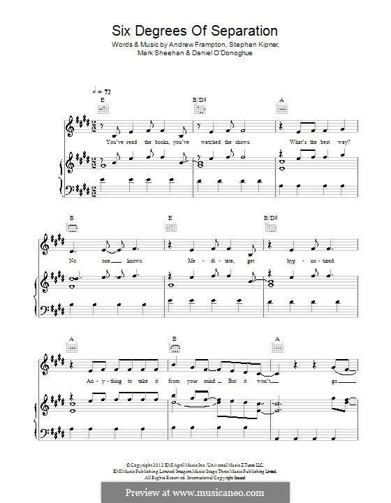 Six Degrees of Separation (The Script): Для голоса и фортепиано (или гитары) by Andrew Frampton, Danny O'Donoghue, Mark Sheehan, Stephen Alan Kipner
