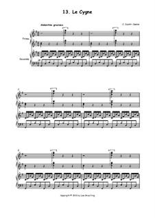 Лебедь: Для фортепиано в четыре руки by Камиль Сен-Санс