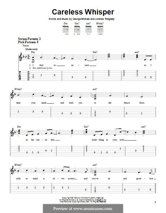 Careless Whisper: Гитарная табулатура by Andrew Ridgeley, George Michael