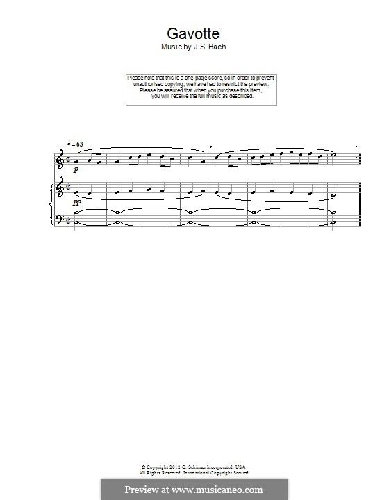 Гавот до мажор: Для флейты и фортепиано by Иоганн Себастьян Бах