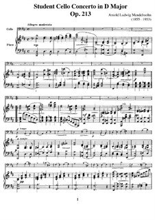 Student Concerto in D Major, Op.213: For cello and piano by Арнольд Мендельсон