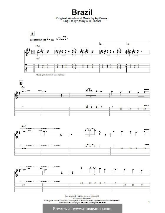 Brazil (The Ritchie Family): Гитарная табулатура by Ary Barroso
