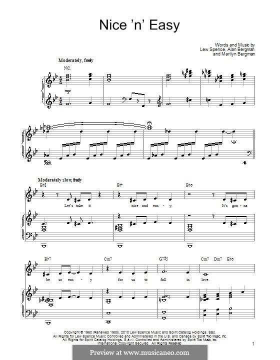 Nice 'n' Easy (Frank Sinatra): Для голоса и фортепиано (или гитары) by Alan Bergman, Lew Spence, Marilyn Bergman