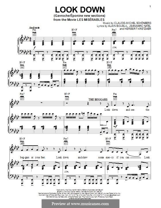 Look Down: Для голоса и фортепиано (или гитары) by Claude-Michel Schönberg