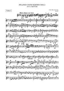 Концерт для фортепиано с оркестром No.1 соль минор, Op.25: Партия первой скрипки by Феликс Мендельсон-Бартольди