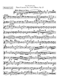 Концерт для фортепиано с оркестром No.1 соль минор, Op.25: Партии кларнетов by Феликс Мендельсон-Бартольди