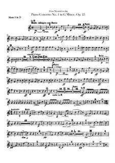 Концерт для фортепиано с оркестром No.1 соль минор, Op.25: Партии валторн by Феликс Мендельсон-Бартольди
