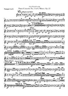 Концерт для фортепиано с оркестром No.1 соль минор, Op.25: Партии труб by Феликс Мендельсон-Бартольди