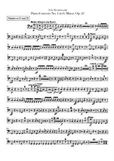 Концерт для фортепиано с оркестром No.1 соль минор, Op.25: Партия литавр by Феликс Мендельсон-Бартольди