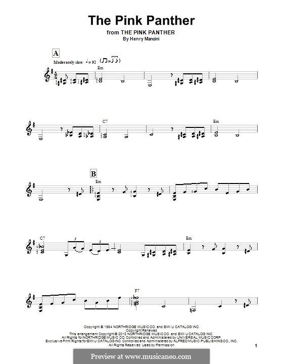 The Pink Panther: Для гитары с табулатурой by Henry Mancini