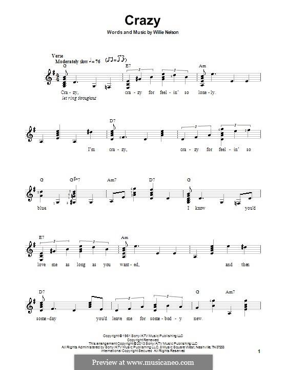 Crazy (Patsy Cline): Для гитары с табулатурой by Willie Nelson
