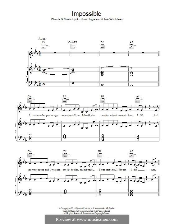 Impossible (Shontelle): Для голоса и фортепиано (или гитары) by Arnthor Birgisson, Ina Wroldsen