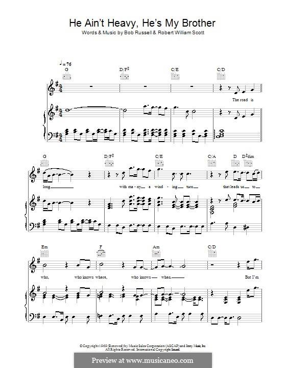 He Ain't Heavy, He's My Brother: Для голоса и фортепиано (или гитары) by Bobby Scott