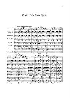 Октет для струнных ми-бемоль мажор, Op.20: Партитура by Феликс Мендельсон-Бартольди