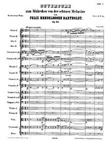 Сказка о прекрасной Мелузине, Op.32: Партитура by Феликс Мендельсон-Бартольди
