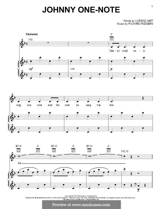 Johnny One Note: Для голоса и фортепиано (или гитары) by Richard Rodgers