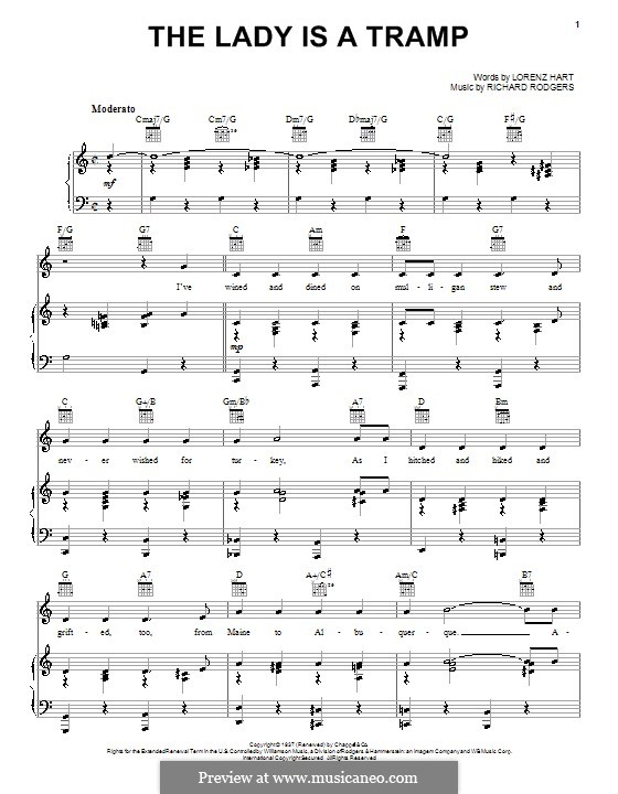 The Lady is a Tramp (Frank Sinatra): Для голоса и фортепиано (или гитары) by Richard Rodgers