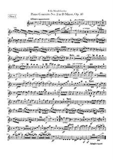Концерт для фортепиано с оркестром No.2 ре минор, Op.40: Партии гобоев by Феликс Мендельсон-Бартольди