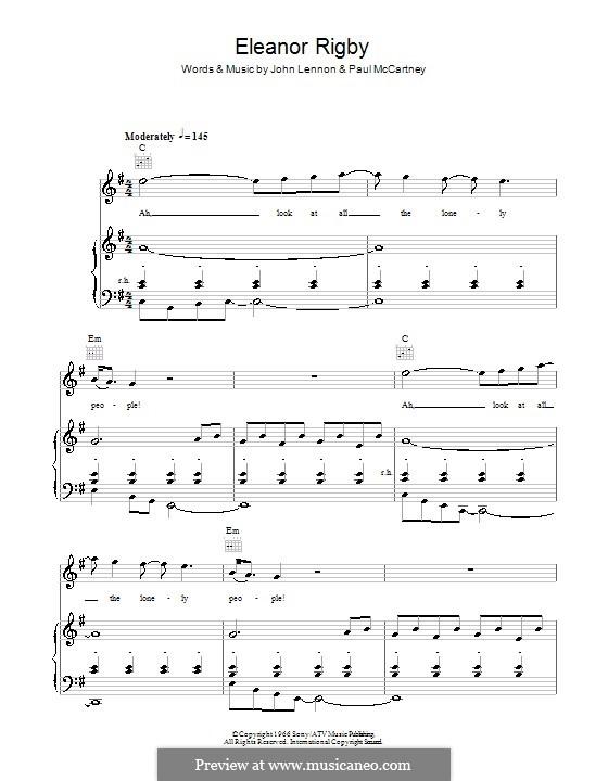 Eleanor Rigby (The Beatles): Для голоса и фортепиано (или гитары) by John Lennon, Paul McCartney