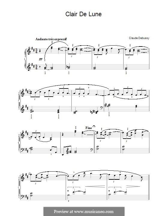 No.3 Лунный свет, для фортепиано: Для одного исполнителя by Клод Дебюсси