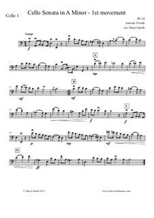 Sonata for Cello No.3 in A Minor, RV 43: Movement I – cello part only by Антонио Вивальди