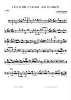 Sonata for Cello No.3 in A Minor, RV 43: Movement II – cello part only by Антонио Вивальди