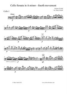Sonata for Cello No.3 in A Minor, RV 43: Movement IV – cello part only by Антонио Вивальди