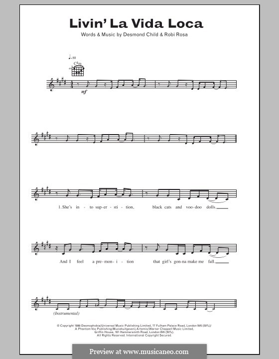 Livin' la vida loca (Ricky Martin): Текст и аккорды by Desmond Child, Robi Rosa