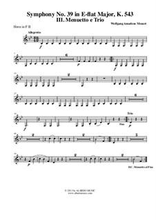 Симфония No.39 ми-бемоль мажор, K.543: Movement III - Horn in F 2 (Transposed Part) by Вольфганг Амадей Моцарт