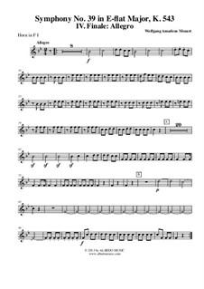 Симфония No.39 ми-бемоль мажор, K.543: Movement IV - Horn in F 1 (Transposed Part) by Вольфганг Амадей Моцарт