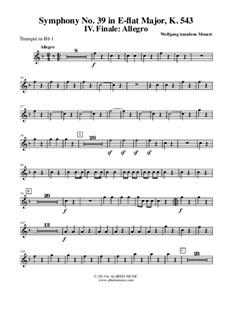Симфония No.39 ми-бемоль мажор, K.543: Movement IV - Trumpet in Bb 1 (Transposed Part) by Вольфганг Амадей Моцарт