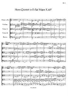 Квинтет для валторны и струнных ми-бемоль мажор, K.407: Партитура by Вольфганг Амадей Моцарт