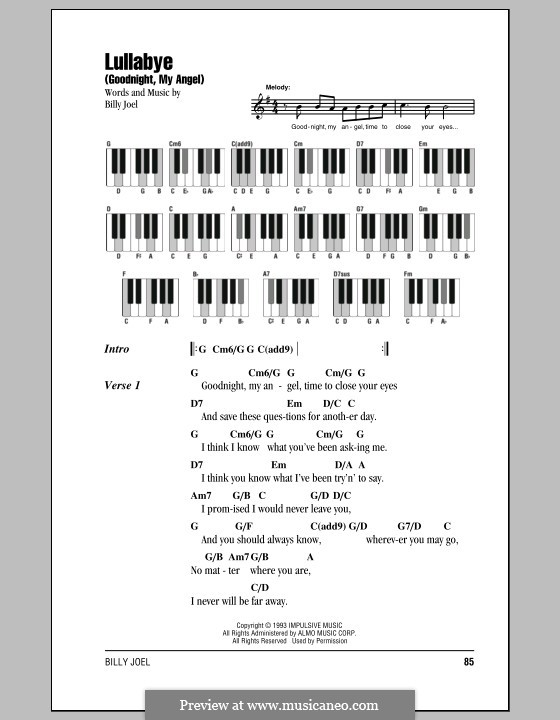 Lullabye (Goodnight, My Angel): Текст и аккорды by Billy Joel