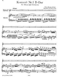Концерт для валторны с оркестром No.1 ре мажор, K.412: Переложение для валторны in D и фортепиано by Вольфганг Амадей Моцарт