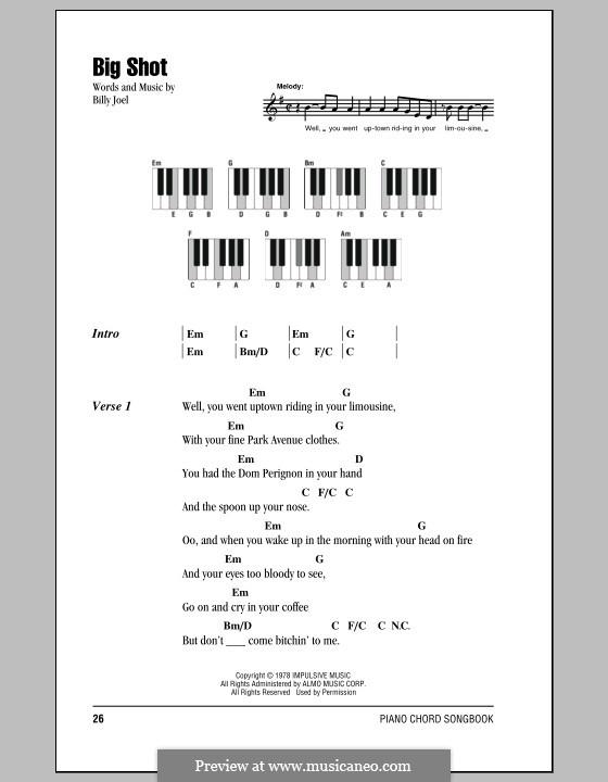 Big Shot: Текст и аккорды by Billy Joel