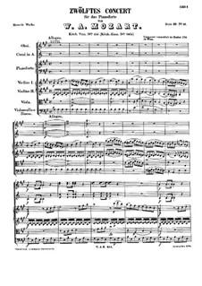Концерт для фортепиано с оркестром No.12 ля мажор, K.414: Партитура by Вольфганг Амадей Моцарт