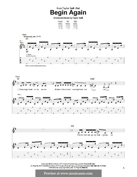 Begin Again: Гитарная табулатура by Taylor Swift