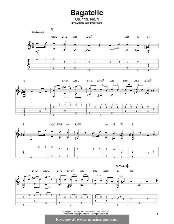 Одиннадцать новых багателей для фортепиано, Op.119: Bagatelle No.1. Version for guitar with tab by Людвиг ван Бетховен