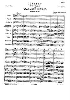 Концерт для кларнета с оркестром ля мажор, K.622: Партитура by Вольфганг Амадей Моцарт